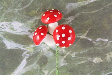 Bundle of 3 Larger Vintage 18mm RED Amanita Mushrooms on Green Paper-Wrapped Wire Stems