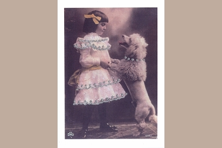 A Girl and her French Poodle Note Card from Barbara Shriber