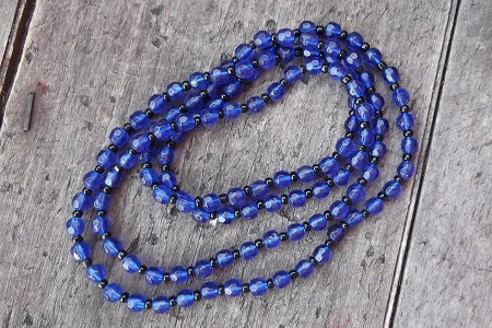 Pretty Blue Crystal Necklace with Black Accents
