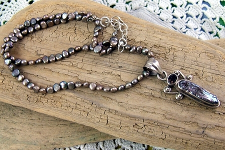 Sterling Silver, Freshwater Pearl and Garnet Goddess Necklace