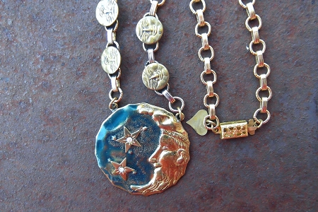 Vintage Handmade Moon and Stars Necklace