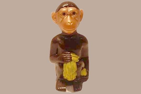 New Old Stock Brown Chimpanzee Nodder with Banana Bunch