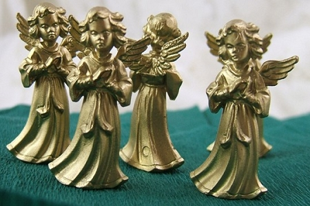 Little Vintage Golden Praying Angel