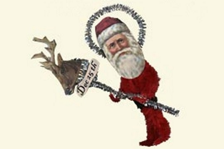 Santa with December 25th Reindeer Old-Fashioned Chenille Ornament