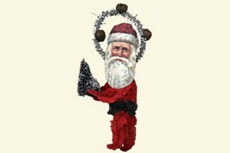 Santa with Tree - Old Fashioned Chenille Ornament
