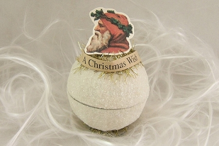 Retired Old-Timey Silver Glitter Ball Ornament Featuring Santa