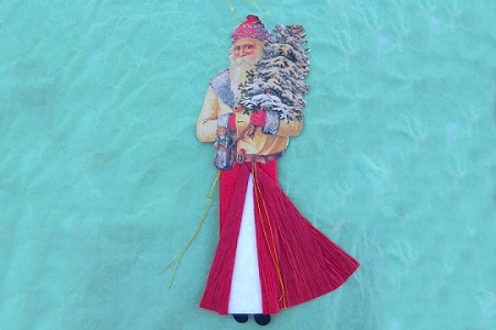 Large Hand-Glittered Old Fasioned Die-Cut Santa Ornament with Crepe Paper Cloak
