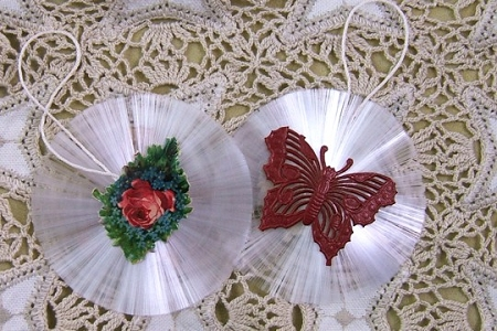 Vintage Spun Glass Ornament - Floral Spray and Red Dresden Butterfly