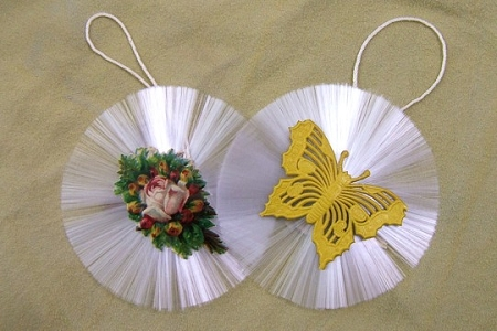Vintage Spun Glass Ornament - Floral Spray and Yellow Dresden Butterfly