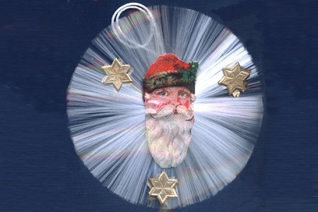 Santa's Face Vintage Spun Glass Ornament