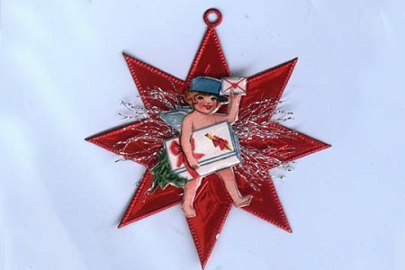 Vintage Scrap Valentine Mailer Ornament with Krausbouillion Red Dresden Star