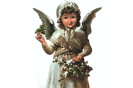 Extra Large Gilded Victorian Angel Die Cut Ornament