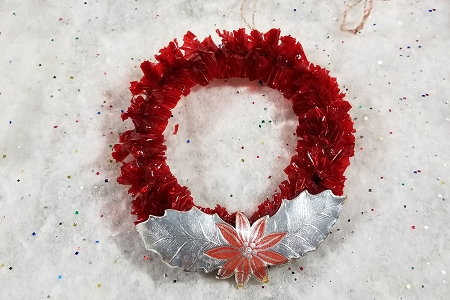 Vintage Red Cellophane Wreath Ornament