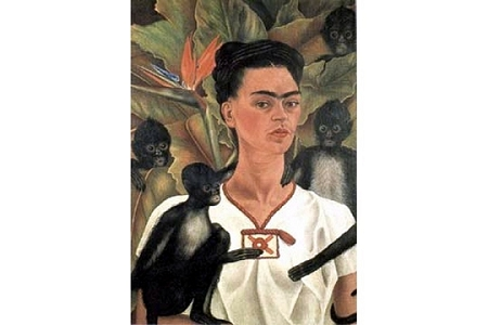 Art Postcard - Frida Kahlo - (Autorretrato con Monos) Self-Portrait with Monkeys