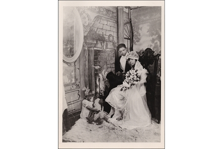 Future Expectations - Double Exposure Wedding Photograph Art Postcard