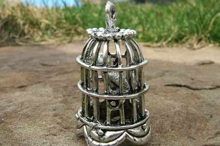 Large Silvery Bird in a Bird Cage Pendant