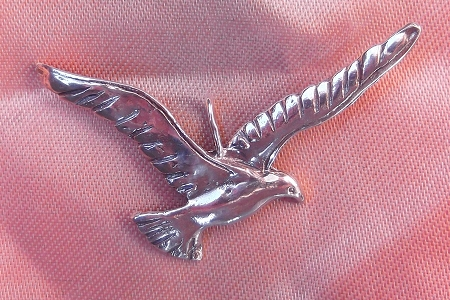 Sterling Silver Crow Pendant Soaring Through the Air