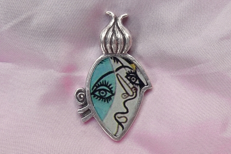 Abstract Cubist Face Pendant Inspired by Picasso (Sky Blue)