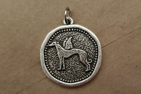 Greyhound Angel Coin Pendant