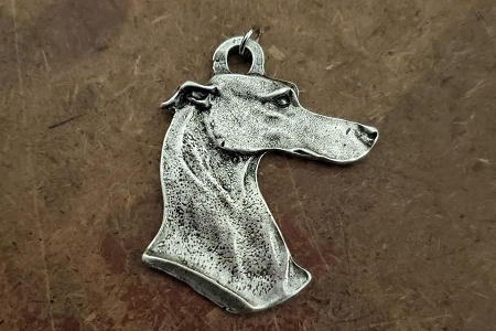 Large Antiqued Silver Greyhound Pendant