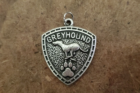 Running Greyhound Shield Pendant