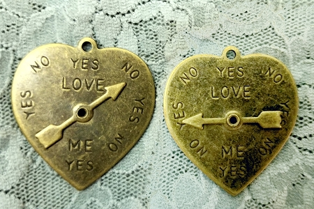 Bronze-Toned Heart Spinner Charm Pendant or Charm