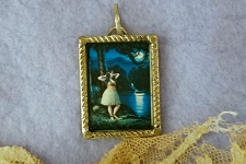 Sterling Silver and Glass Vintage Style Hula Girl Pendant