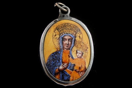 Our Lady of Czestochowa (Black Madonna) Vitreous Enamel Pendant