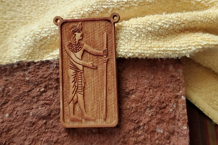 Laser-Cut Wooden Egyptian Pharaoh Pendant