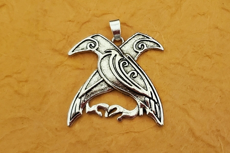 Stunning Antiqued Silvery Double Raven Pendant
