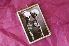 Handmade One of a Kind Twin Skeletons Pendant