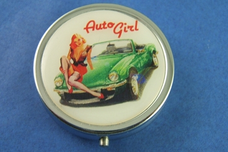 Auto Girl Pill Box and a Pack of Smarties
