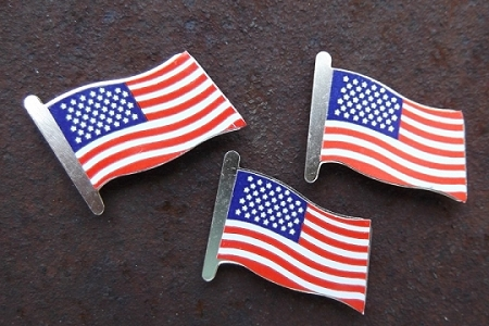 Vintage USA Flag Pins - pkg of 10<br>   Brass American Flag Pins