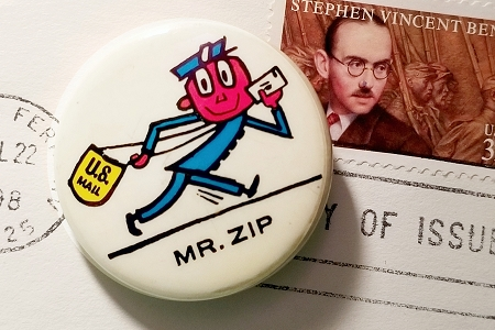 Vintage Mr. Zip Pinback Button