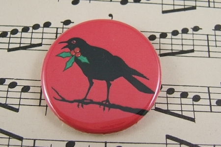 Christmas Crow Pin-Back Button