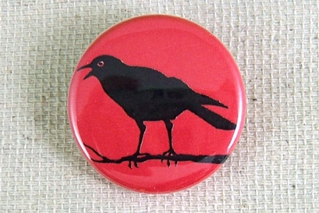 Crow on a Branch Pin-Back Button