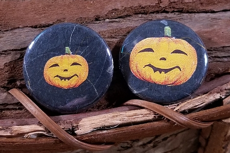 Pumpkin Set of 2 Pin-Back Buttons with Vintage Scraps - SilverCrow Creations Exclusive