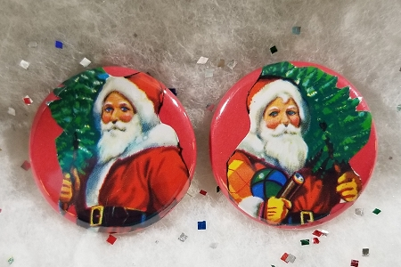 Festive Hand Cut Santa Vintage Scraps Set - 2 Pin-Back Buttons