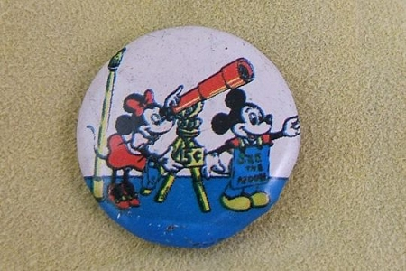 Vintage Minnie Mouse & Mickey Mouse Astronomers Pin