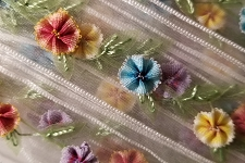 10 Yards Dainty Little Embroidered Flowers on Organza Ribbon