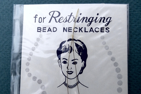 Vintage Beaded Necklace Restringing Kit on Original Display Card