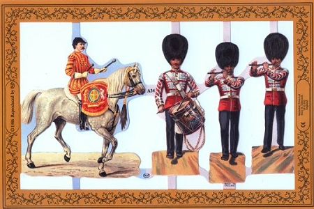 All the King's Men - Set 1 - Reproduction Chromolithograph Embossed Die-Cut Scrap Reliefs