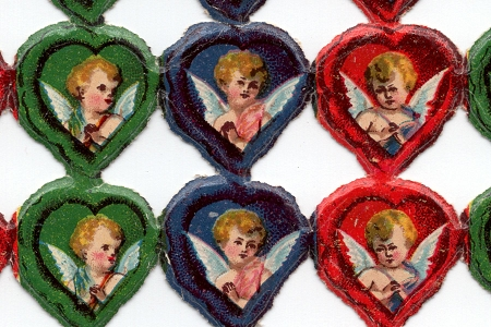 Antique Vintage Angels in Hearts Scraps - Set of 6