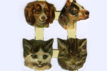 Mini Dogs and Cats Reproduction Chromolithograph Scraps
