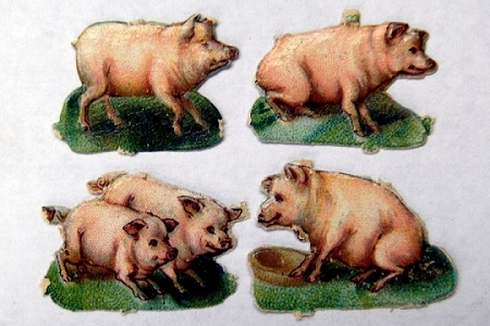 4 Different Vintage Pig Die Cut and Embossed Chromolithograph Scraps