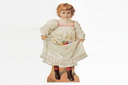 Old Fashioned Die Cut of a Little Girl with her Easter Eggs