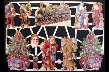 Glitter Santa with Train - Hand-Glittered Reproduction Chromolithograph Embossed Die-Cut Reliefs
