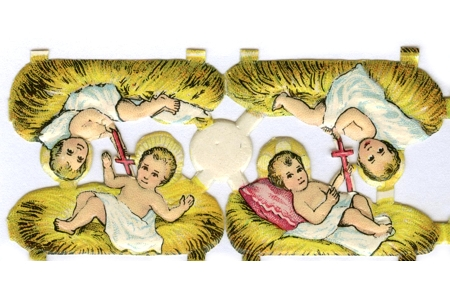 Vintage Jesus in the Manger Embossed, Diecut, Chromolithograph Scraps (4 Different Images)