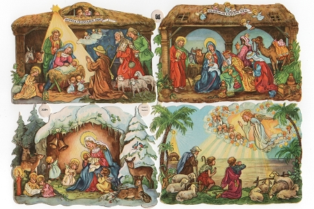 Vintage Nativity Die Cut and Embossed Chromolithograph Scraps - 4 Different Images