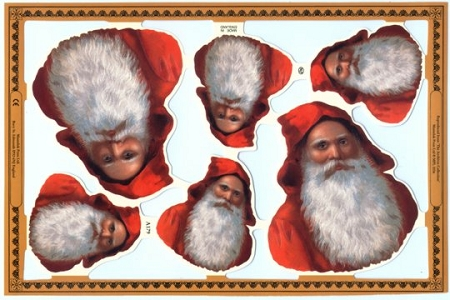 Santa Longbeard - Die Cut and Embossed Reproduction Chromolithograph Scraps